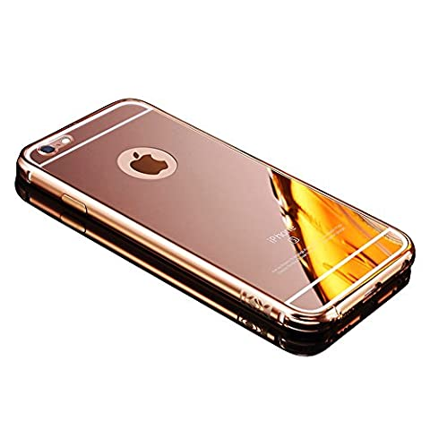 Mirror Case For iPhone 6S 6 4.7 inch,Vandot Premium Luxury Aluminum Metal Bumper Frame+Mirror Reflective Effect Acrylic Hard Back Shell Practical Protective Cell Phone Cover Pattern Skin (Gold)