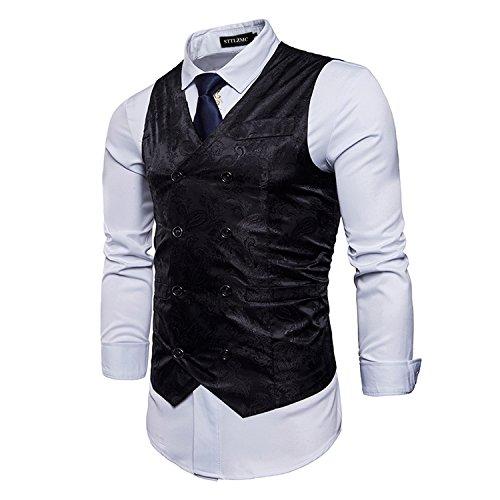 STTLZMC Elegante Herren Weste Formal Paisley Slim Fit Retro Stil blazer,Schwarz,l (Breasted Anzug Herren)