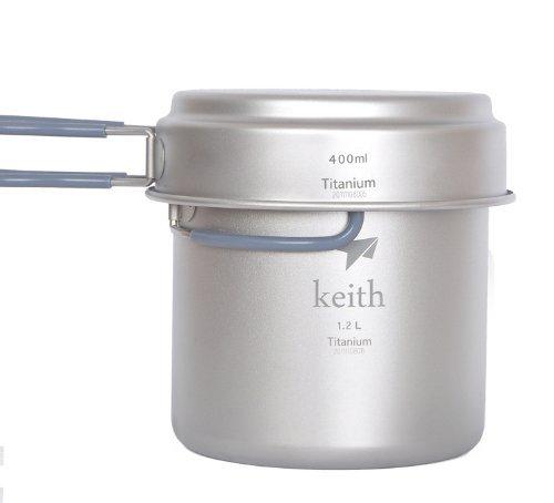 Keith Titan 1200ml plus 400ml Camping Koch-Topf Set Outdoor-Topf Kochgeschirr 193g, Titanium cookware camping Pot-set outdoor pot, KP6013 (Camping-koch)