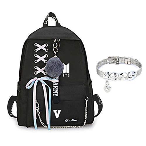GOTH Perhk BTS Bangtan Boys Love Yourself Answer BTS Rucksack für Frauen Mädchen Canvas Rucksack für Laptop Wandern mit einem BTS-Armband(V)