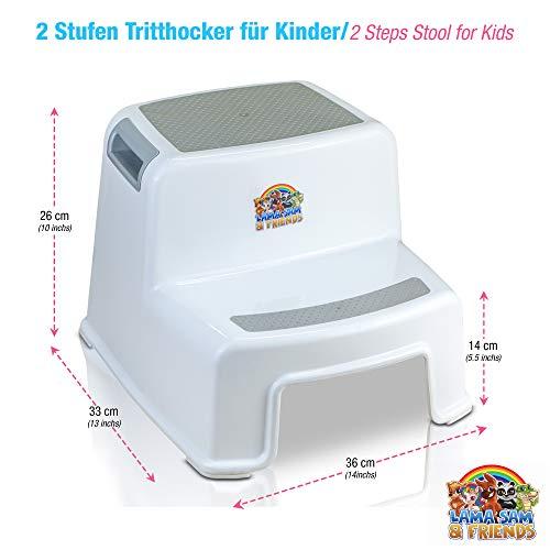Lama Sam & Friends - Taburetes en dos etapas para niños Escalón para el Baño para Enseñar a Usar el WC a Niños Pequeños y Bebés y Quitarles el Pañal, Banquillo Antideslizante, Ligero y Estable (Gris)