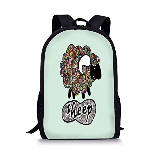 School Bags Indie,Hipster Doodle Funny Sheep with Colorful Spiral Swirls Drawing Style Comic Country,Multicolor for Boys&Girls Mens Sport Daypack