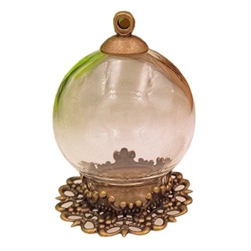 10set 25* 15mm Mini vuoto bottiglia sfera di vetro trasparente con risultati Set campana di vetro in flaconcino di vetro ciondolo, bronze big crown, 25mm diameter globe 15mm open 15mm base 8mm cap