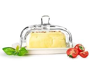 Sendez Große Butterdose auf Porzellanteller Butterglocke Butterschale...