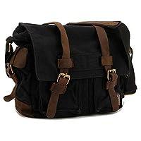 Unisex Men Women Shoulder Bag Canvas Leather Fashion Men Crossbody Messenger Satchel Laptop Bag GH9976 Black Size: XL