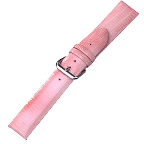 18mm–rosa (piel de piel auténtica correa para reloj banda hebilla de SS