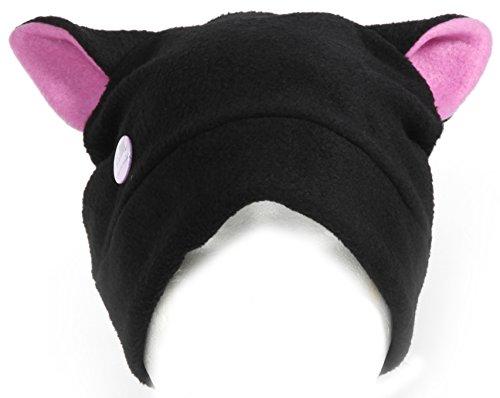 Hana-Arashi Katzenmütze 'Neko-chan' schwarz – helles violett