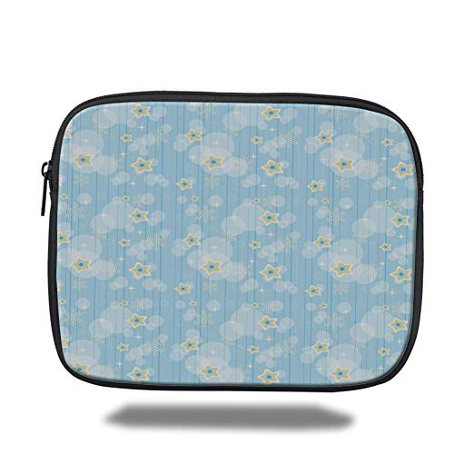Tablet Bag for Ipad air 2/3/4/mini 9.7 inch,Winter,Cute Kids Baby Pattern Night Sky with Soft Colored Stars New Year Theme,Baby Blue Yellow White (New Theme Years)