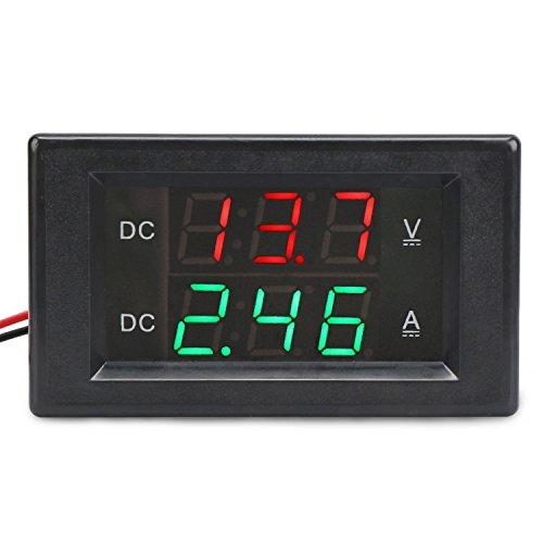 """Preisvergleich Produktbild DROK® DC 300V 20A Digital-Multimeter-Voltmeter-Amperemeter, 0.39 """"LED-Doppelanzeigetafel-Voltverstärker-Prüfvorrichtung, 5 Wires-Spannungs-Messinstrument-Ampere-Strom-Monitor, Prüfspur Verwendbar für Speicher-Batterie u. Andere Geräte"""