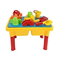 Beach toy Sand and Water Table with Beach Play Set Kids Activity Table Building Block Tray Toy and Building Base Plate for Kids