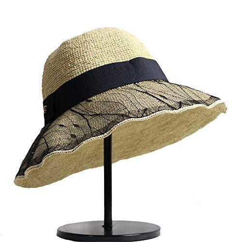 Frauen Sommer Stroh Sonnenhut Unisex Sommer Strand Hüte Breiter Krempe Stroh Roll Up Hut Für Mädchen Für Frauen Damen Mädchen (Farbe: Schwarz, Größe: 56-58 cm)