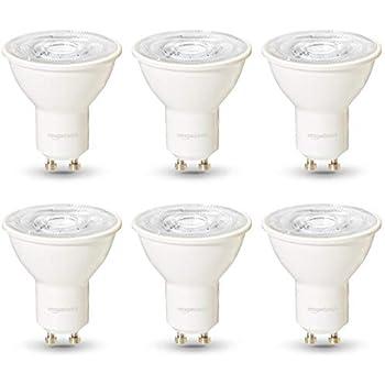 AmazonBasics Professional - Bombilla de foco LED GU10, equivalente a 35 W, luz blanco cálido, regulable - juego de 6