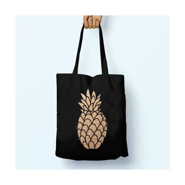 Pineapple Gold, Illustrated, Shoulder, Tote, Long Handles, Graphic, Cute, Tumblr, Hipster, Beach, Gym, Festival, School, Bag - handmade-bags