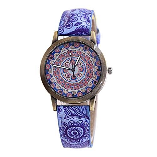 VJGOAL Damen Uhren, Frauen Mädchen Ultradünne Elegant Armbanduhren Mode Trend Minimalistisches Kontrastfarbe Freizeit Blaues und Weißes Porzellan Bronze Drucken Watch