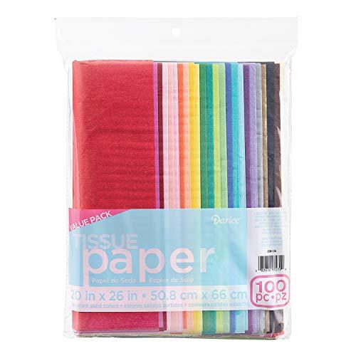 Darice 100Seidenpapier, 50,8x 66cm Sortiert Farben, Popular, 1 Packung