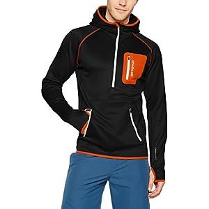 Ortovox - Felpa con cappuccio da uomo, collo con zip, in pile di lana merino