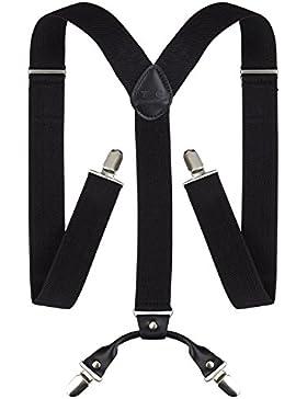 TED COLLINS Herren Hosenträger, Y-Form / X-Form, schwarz - Längenverstellbar und elastisch für angenehmen Tragekomfort...