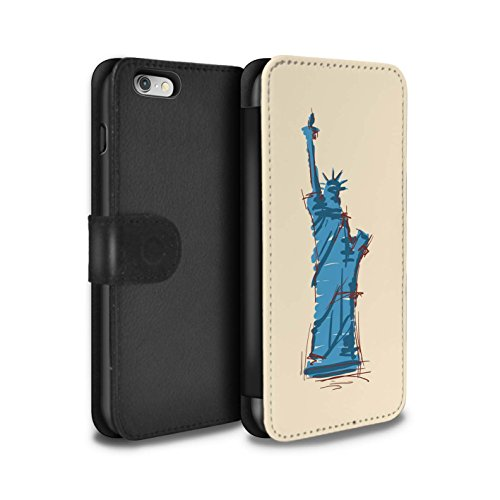 Stuff4 Coque/Etui/Housse Cuir PU Case/Cover pour Apple iPhone 6 / Tour Eiffel / Paris Design / Monuments Collection Statue de la Liberté