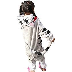 LPATTERN Cosplay Disfraz Pijamas Animales Carnaval Fiestas Partidos Franela Niños Unisex Niñas Gato S