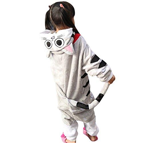 Free Fisher Kinder Jungen/Mädchen Cosplay Kostüm Jumpsuit Overall Schlafanzug Pyjama, Grau Katze, Gr. 140/146( Herstellergröße: (Mädchen Kostüme Katze)