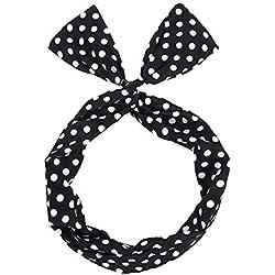 aloiness Mujeres Flexible Diademas de Cute Cabello Banda para el Pelo del Arco Banda para el Pelo de Lunares Banda de Pelo Lindo de las Niñas(Puntos Blancos y Negros)