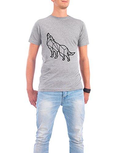 """Design T-Shirt Männer Continental Cotton """"Geometrische Wolf"""" - stylisches Shirt Tiere Geometrie von Roman Velez Grau"""
