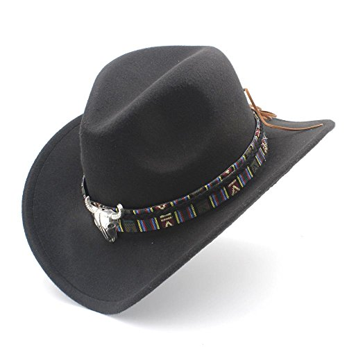 IWGR Frauen Männer Western Cowboy Hut Dame Jazz Cowgirl Sombrero Caps Mode Hut (Farbe : Schwarz, Größe : 56-58cm) - Damen-cowboy-hut