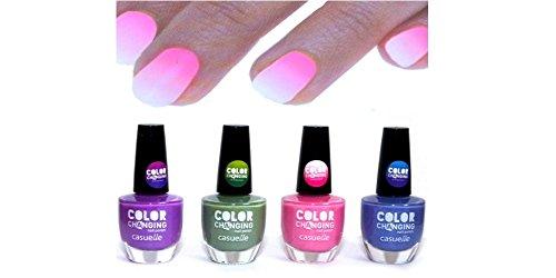 4er SET Color Changing Nail Polish Thermo Effekt Farbwechsel Nagellack HIT !!