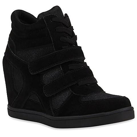 Sportliche Damen Sneakers Sneaker Wedges Glitzer Lochung Keilabsatz Wedge Sport Schuhe 110920 Schwarz Textil 38 |