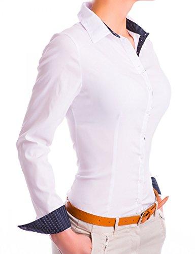 Danaest Damen Figurbetonte Langarm Bluse Business Hemd Tailliert Business (532) Weiß