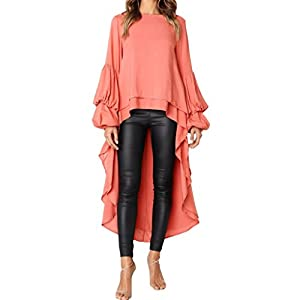 Zarupeng Damen Rüschen Bluse Shirt Einfarbig Langarm Rundhalsausschnitt Hemdbluse Jumper Sweatshirt Pullover Tops Unregelmäßige Hem