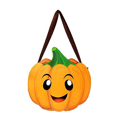 Cosanter Halloween Papier Kleinen Korb Tragbare Süßigkeiten Tasche Kinder Make-up Party Kostüme (Kürbis Muster)