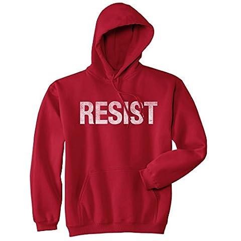 Crazy Dog TShirts - Resist Sweatshirt United States of America Protest Rebel Political Unisex Hoodie (Red) XXL - Homme