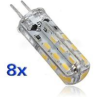 SODIAL(R) 8 G4 Lampada Faretto 24 LED SMD 3014 Bianco Caldo DC 12V 1,5W 3600K