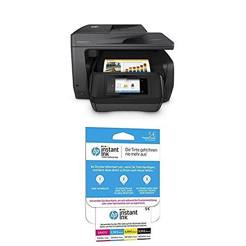 HP OfficeJet Pro 8725 Multifunktionsdrucker schwarz + HP Instant Ink Karte (Tarif für 15, 50, 100 oder 300 Seiten pro Monat) -