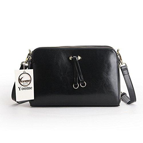 Doppel-zip-make-up-tasche (Yoome Frauen Echtes Leder Kleine Doppel Zip Geldbörse Crossbody Tasche Umhängetasche - Schwarz)