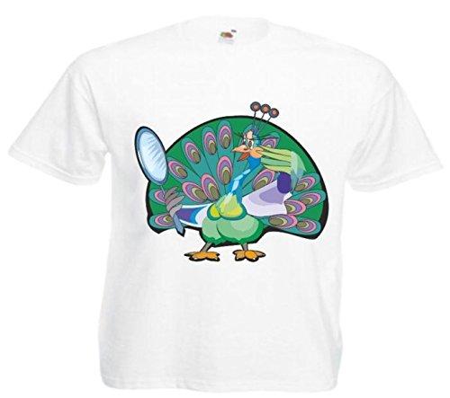 Motiv Fun T-Shirt Eitler(Vergeblicher) Pfau Cartoon Spass Film Serie Weiß