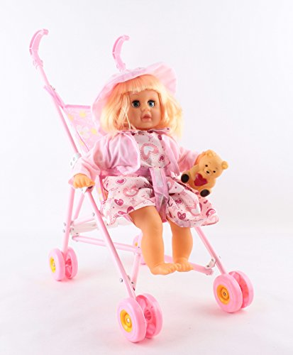 deAO Luxury Toy Stroller/Buggy Set with FREE Doll, Beaker, Cutlery, Nappy Bag and Lots More