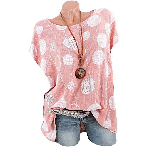 Plus Size Shirt - Dorical Damen Casual Dot Print Kurzarm Bluse Lose Plissee Nette Sommer T Tops Bluse T-Shirt für Frauen,Übergröße Drucken Polka Dot Bluse Shirts Reduziert(Rosa,Medium)