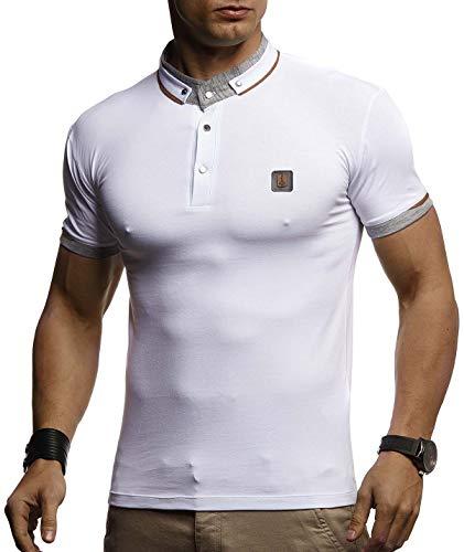 LEIF NELSON Herren Sommer T-Shirt Polo Kragen Slim Fit Baumwolle-Anteil | Basic schwarzes Männer Poloshirts Sweatshirt Kurzarm | Weißes Shirt Kurzarmshirts lang | LN4875 Weiß X-Large - Kurzarm Polo Pullover