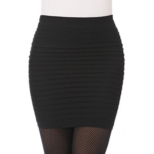 HCFKJ Femmes Jupes, 2018 Nouveau Style   élégantes plissées paquet taille haute Hip jupe courte chaud Party Cocktail Occasionnel Chic Rétro Casual Slim Mini-jupe Ladies (Taille libre, Noir)