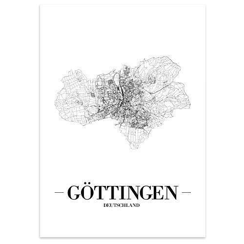 JUNIWORDS Stadtposter - Wähle Deine Stadt - Göttingen - 40 x 60 cm - Schrift A - Weiß