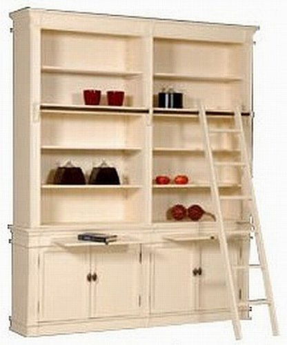 Casa-Padrino bookshelf country-style (B 200 x T 36 x H 240) with conductors (H 200 cm) white antique look - shabby-chic rack cabinet, bookcase