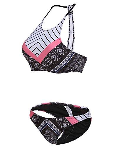 EKOUAER Damen reizvolles Bikini Set Swimsuit Niedrige Taille Blumen Muster Badeanzüge Sexy Print Floral Zwei Stück Bademode Stil D-Mehrfarbig