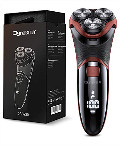 DynaBliss Afeitadora Eléctrica para Hombre Rotativa, Húmedo y Seco Maquinilla de Afeitar barba IPX7 Impermeable con Pop-up Trimmer y LCD Display