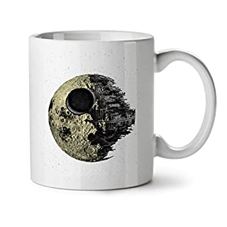 Death Galaxy Ship Ceramic Mug, Empire USA Cup - Large, Easy-Grip Handle, Two Side Print, Ideal for Coffee & Tea Drinkers, Made by Wellcoda