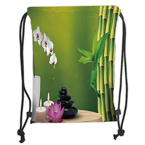 LULUZXOA Gym Bag Printed Drawstring Sack Backpacks Bags,Spa Decor,Bamboo Flower Stone Wax on The Table Orchid Rock Healthy Lifestyle, Soft Satin,The Stylish Bag for Ev