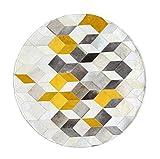 WSX Runder Kuhfell Teppich | Area Teppiche für Schlafzimmer Studie Garderobe | Nordic Style Couchtisch Sofa Matte Dekoration Teppich - Gelb (größe : Diameter180cm)