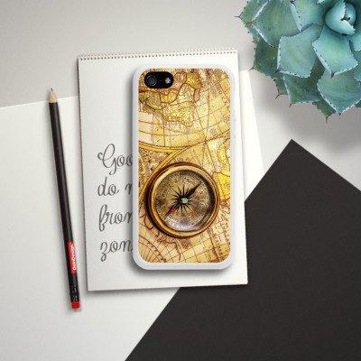 Apple iPhone SE Housse Outdoor Étui militaire Coque Boussole Carte du monde Carte Housse en silicone blanc