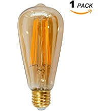 Lampara Bombilla Edison de LED de Filamento E27 6W ST64 Vintage Retro Antigua Luz Calida 2400K Equivalente 60W Bombillas Incandescentes, AC85~265V, Pack de 1 de Enuotek